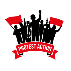 Protest action emblem with crowd demanding men and flag placard inscription on white background isolated vector illustration